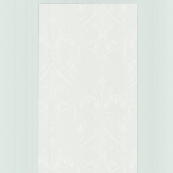 Brewster White Floral Ogee Wallpaper
