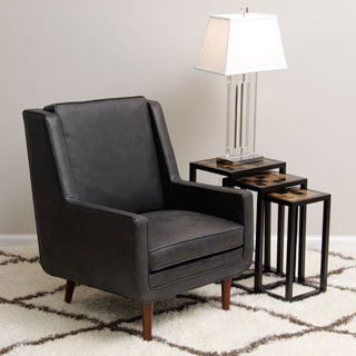 Moss Oxford Leather Black Accent Chair