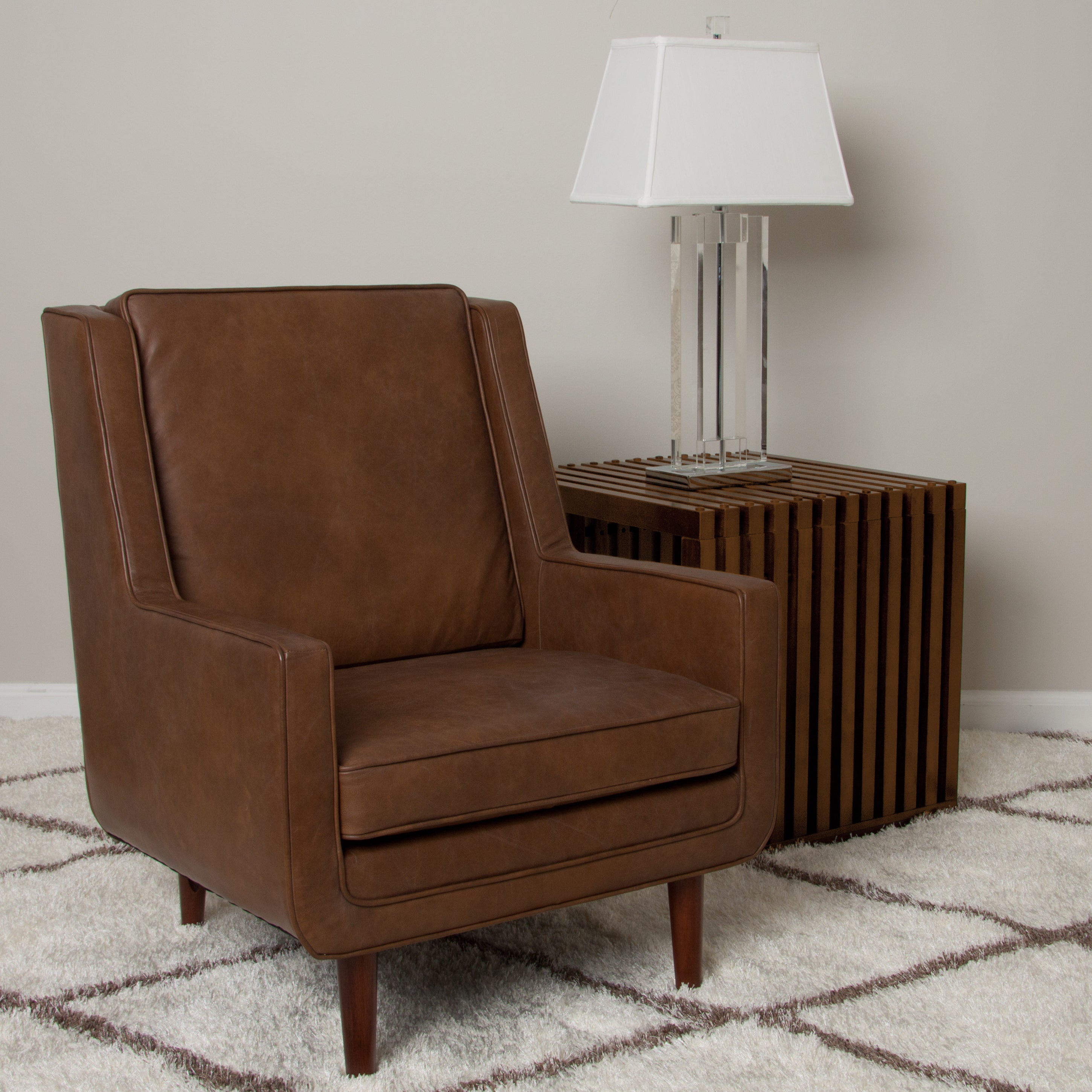 Living Room Bar Oxford: Moss Oxford Leather Tan Accent Chair