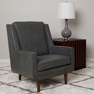 Moss Oxford Leather Grey Accent Chair