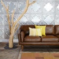 Beatnik Oxford Leather Tan Sofa