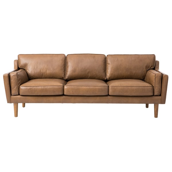 Contemporary Rectangle Upholstered Leather Cocktail Ottoman