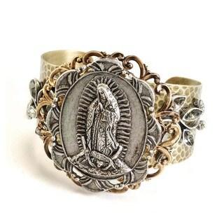 Sweet Romance Two-tone 'Virgin de Guadalupe' Cuff Bracelet