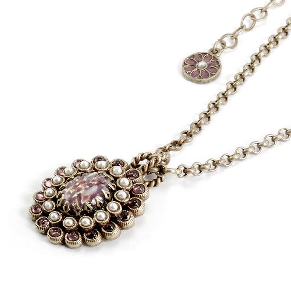 Sweet Romance Bronzetone Purple Art Glass and Faux Pearl Necklace