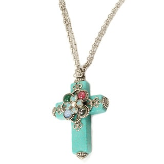 Sweet Romance Bronzetone Turquoise Flower Cross Glass Necklace