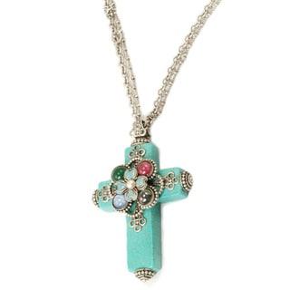 Sweet Romance Bronzetone Turquoise Flower Cross Glass Necklace