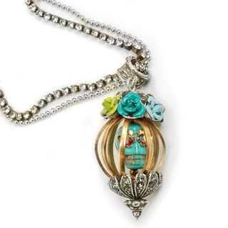 Sweet Romance Skull in Cage Pendant Necklace