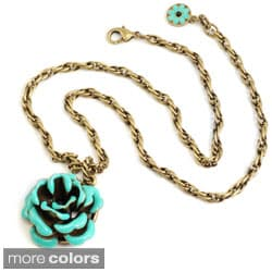 Sweet Romance Bronzetone Enamel Rose Necklace