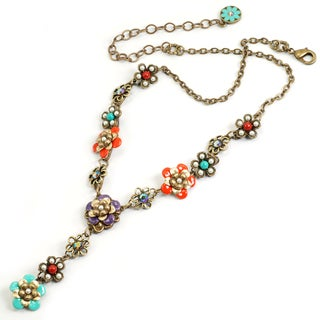 Sweet Romance String of Enamel Flowers Necklace