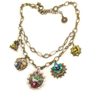 Sweet Romance Bronzetone Glass Garden of Earthly Delights Necklace