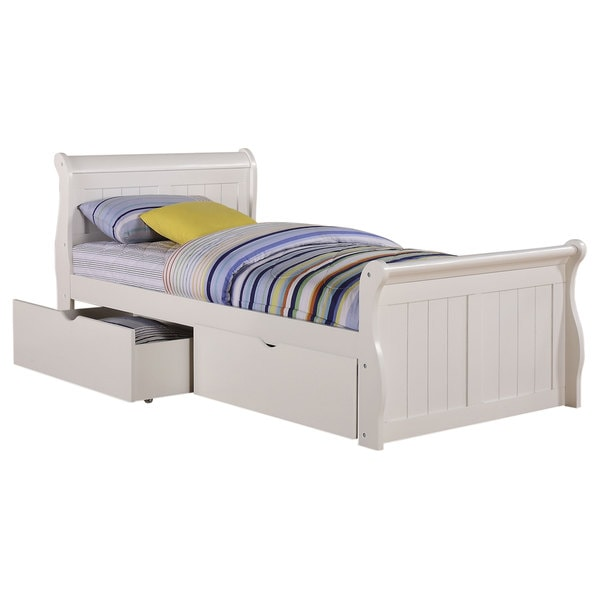 Donco Kids White Dual Underbed Drawers Sleigh Bed 15465148 Overstock Com Shopping Great