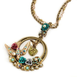 Sweet Romance Bird Garden Hoop Necklace