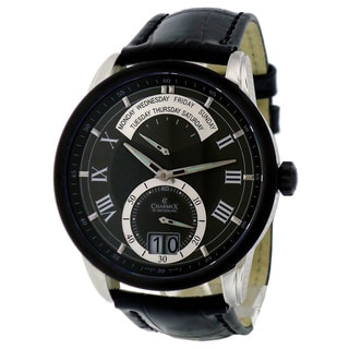 Charmex Men's 'Zermatt Retrograde' Leather Strap Calendar Watch