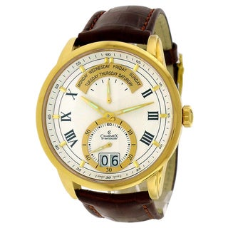 Charmex Men's 'Zermatt Retrograde' Brown Leather Strap Calendar Watch