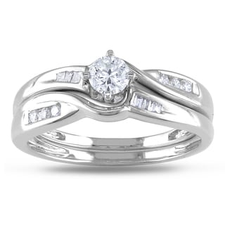 Miadora 14k White Gold 1/3ct TDW Diamond Bridal Set (G-H, I1-I2)