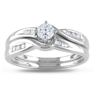Miadora 14k White Gold 1/3ct TDW Diamond Bridal Ring Set (G-H, I1-I2)