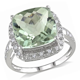 Miadora 14k White Gold Green Amethyst 1/8ct Diamond Ring (G-H, I1-I2)