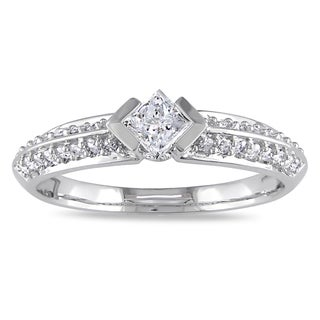 Miadora 10k White Gold 1/2ct TDW Diamond Engagement Ring (G-H, I2-I3)