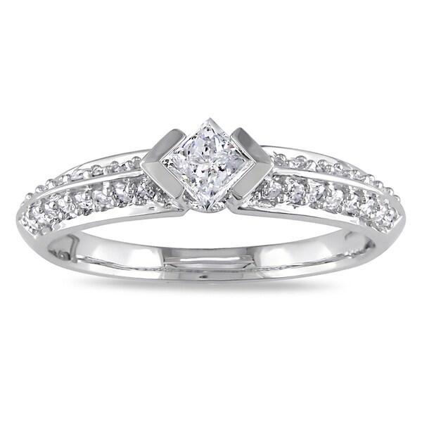 Miadora 10k White Gold 1/2ct TDW Diamond Engagement Ring (G-H, I2-I3)