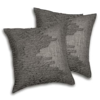 Lush Decor Lake Como Square Grey Decorative Pillows (Set of 2)