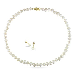 M by Miadora Yellowplated Cultured Freshwater Pearl Necklace and Stud Earrings Set (7.5-8 mm)