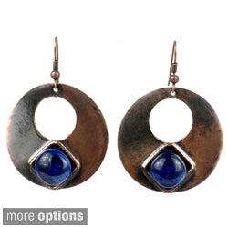 Handmade Copper Disc with Glass Earrings (Chile)