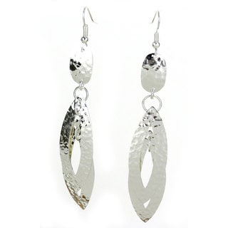 Handcrafted Silverplated Large Double Leaf Earrings (Mexico)