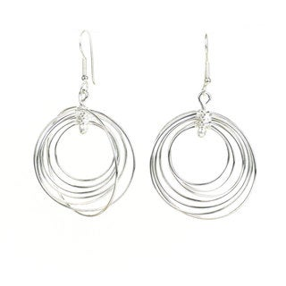 Handcrafted Silverplated Large Seven Circles Earrings (Mexico)