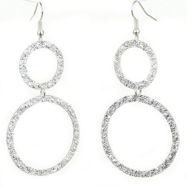 Handcrafted Silverplated Large Two Circle Earrings (Mexico)
