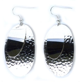 Handcrafted Silverplated Large Two Ovals Earrings (Mexico)