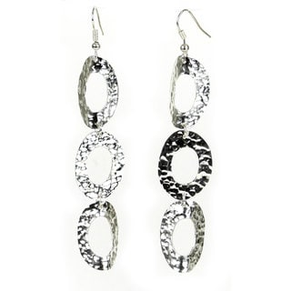 Handcrafted Silverplated Large Triple Oval Earrings (Mexico)