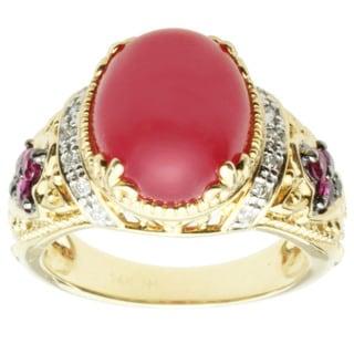 Michael Valitutti 14k Yellow Gold Rhodochrosite, Ruby and Diamond Ring