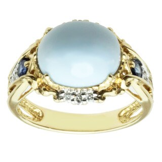 Michael Valitutti 14k Yellow Gold Blue Opal, Blue Sapphire and Diamond Ring