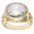Michael Valitutti 14k Yellow Gold Moonstone, Blue Sapphire and Diamond Ring