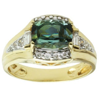 Michael Valitutti 18k Yellow Gold Teal Tourmaline and Diamond Ring