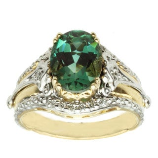 Michael Valitutti 14k Two-tone Gold Emerald Sunstone and Diamond Ring
