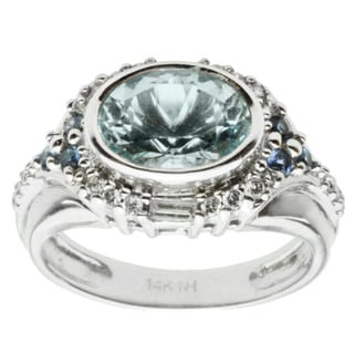 Michael Valitutti 14k White Gold Aquamarine, Blue Sapphire and Diamond Ring