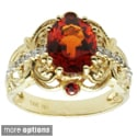 Michael Valitutti 14k Yellow Gold Green Tourmaline or Spessarttie, Orange Sapphire and Diamond Ring