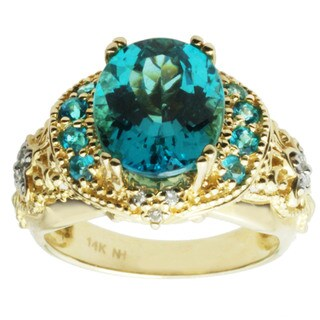 Michael Valitutti 14k Yellow Gold Paraiba Apatite and Diamond Ring