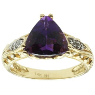Michael Valitutti 14K Yellow Gold Prong-set Amethyst and Diamond Ring