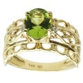 Michael Valitutti 14K Yellow Gold Oval-cut Peridot and Diamond Ring