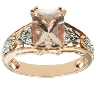 Michael Valitutti 14k Two-tone Gold Morganite and Diamond Ring