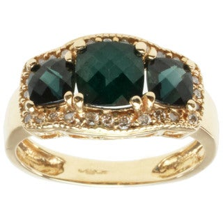 Michael Valitutti Highly Polished 14k Yellow Gold Indicolite and Diamond Ring
