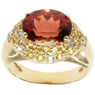 Michael Valitutti 14k Yellow Gold Ruby Sunstone, Yellow Sapphire and Diamond Ring