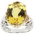 Michael Valitutti 14k Two-tone Gold Yellow Beryl and Diamond Ring