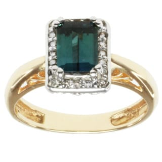Michael Valitutti 14K Two-tone Gold Emerald-cut Green Tourmaline and Diamond Ring