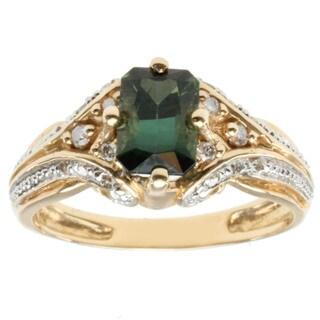 Michael Valitutti 14k Yellow Gold Radiant-cut Green Tourmaline and Diamond Ring