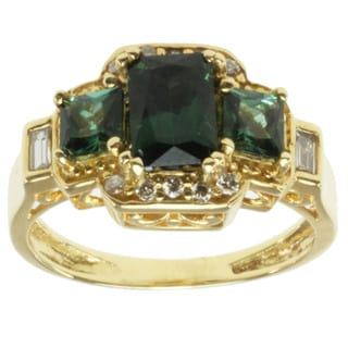 Michael Valitutti 18k Yellow Gold Green Tourmaline and Diamond Ring