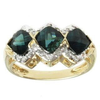 Michael Valitutti 14k Yellow Gold Indicolite and Round-cut Diamond Ring