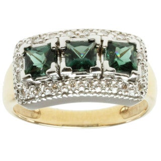 Michael Valitutti 14k Two-tone Gold Teal Tourmaline and Diamond Ring